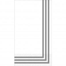 Stripes Party Supplies - Premium Classic Guest Towel White & Silver