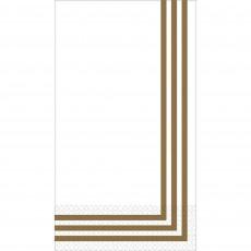 Stripes Party Supplies - Premium Classic Guest Towel White & Gold