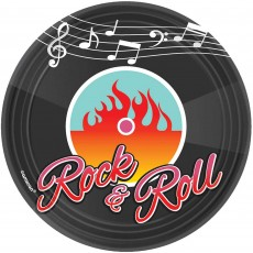 Round Rock n Roll Classic 50's Paper Lunch Plates 17.7cm Pack of 8