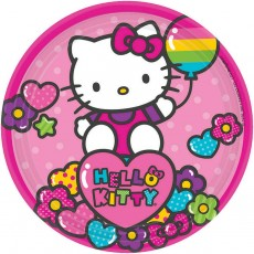 Round Hello Kitty Rainbow Lunch Plates 18cm Pack of 8