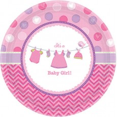 Round Shower with Love Girl It's a Baby Girl! Lunch Plates Pack of 8