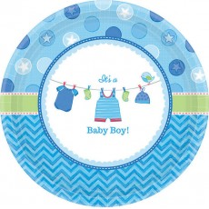 Round Shower with Love Boy It's a Baby Boy! Lunch Plates Pack of 8