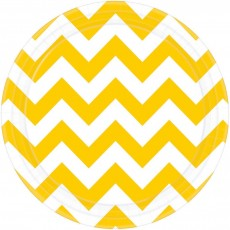 Chevron Design Sunshine Yellow Paper Lunch Plates