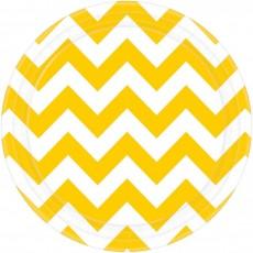 Round Sunshine Yellow Chevron Design Paper Lunch Plates 17cm Pack of 8