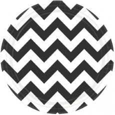 Chevron Design Jet Black Paper Lunch Plates
