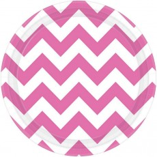 Round Bright Pink Chevron Design Paper Lunch Plates 17cm Pack of 8