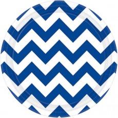 Chevron Design Bright Royal Blue Paper Lunch Plates
