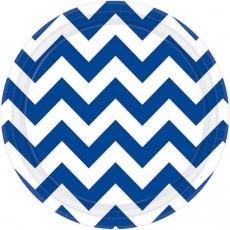 Round Bright Royal Blue Chevron Design Paper Lunch Plates 17cm Pack of 8