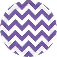 Round New Purple Chevron Design Paper Lunch Plates 17cm Pack of 8