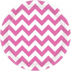 Round New Pink Chevron Design Paper Lunch Plates 17cm Pack of 8