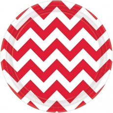 Chevron Design Apple Red Paper Lunch Plates