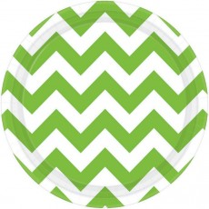Round Kiwi Green Chevron Design Paper Lunch Plates 17cm Pack of 8