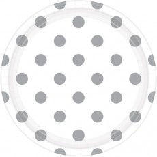 Dots Frosty White with Silver Lunch Plates