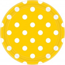 Round Sunshine Yellow with White Dots Lunch Plates 17cm Pack of 8