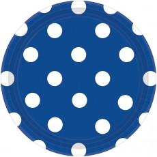 Round Bright Royal Blue with White Dots Lunch Plates 17cm Pack of 8