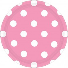 Round New Pink with White Dots Lunch Plates 17cm Pack of 8