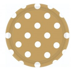 Round Gold with White Dots Lunch Plates 17cm Pack of 8