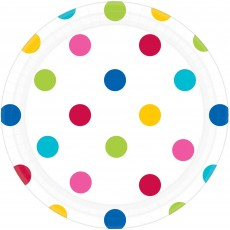 Round White with Rainbow Dots Lunch Plates 17cm Pack of 8