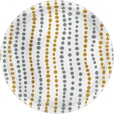 Gold Modern  & Silver Dots Lunch Plates