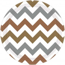 Chevron Design Mixed Metallic Paper Lunch Plates