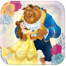 Square Beauty & the Beast Paper Lunch Plates 18cm Pack of 8