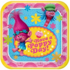Square Trolls Have a Poppy Day! Lunch Plates 18cm Pack of 8