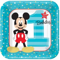 Square Mickey Mouse 1st Birthday Fun To Be One Lunch Plates 18cm Pack of 8