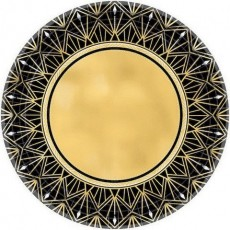 Glitz & Glam Black & Gold Metallic Lunch Plates