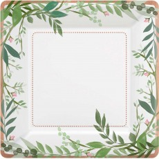 Bridal Shower Love and Leaves Metallic Lunch Plates
