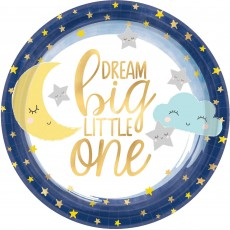Round Twinkle Little Star Metallic Dream Big Little One Lunch Plates 17cm Pack of 8