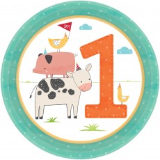 Barnyard Party Supplies - Lunch Plates 1st Birthday