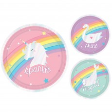 Round Magical Rainbow Iridescent Paper Lunch Plates 17cm Pack of 8