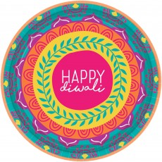 Round Diwali Paper Lunch Plates 18cm Pack of 8