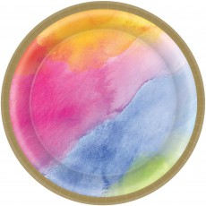 Round Rainbow Dream Colours Paper Lunch Plates 17cm Pack of 8