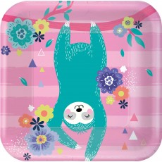 Square Sloth Lunch Plates 17cm Pack of 8