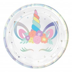 Unicorn Fantasy Party Supplies - Lunch Plates Unicorn Party Iridescent