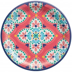 Round Boho Vibes Paper Lunch Plates 17cm Pack of 8