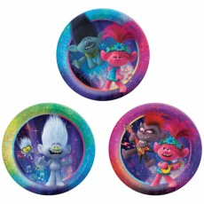 Round Trolls World Tour Prismatic Lunch Plates 17cm Pack of 8