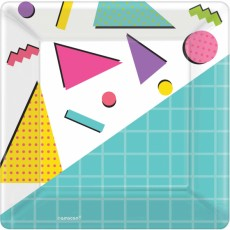 Square Awesome 80's Lunch Plates 17cm Pack of 8