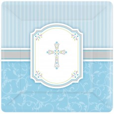 First Communion Blue Blessings Lunch Plates