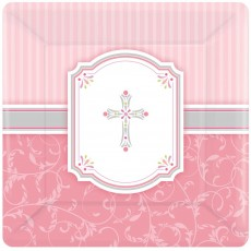 First Communion Pink Blessings Lunch Plates