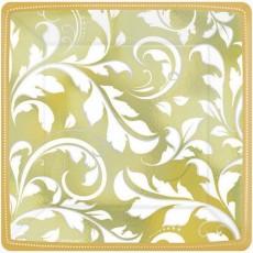 50th Anniversary Gold Scroll Elegant Lunch Plates