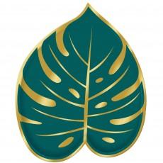 Key West Palm Leaf Shaped Foil & Paper Lunch Plates
