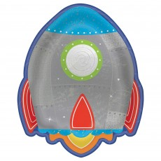 Blast Off Metallic Rocket Shaped Lunch Plates
