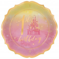 Disney Princess Once Upon A Time 1st Birthday Metallic Shaped Lunch Plates 17cm Pack of 8