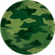 Round Camouflage Lunch Plates 18cm Pack of 8