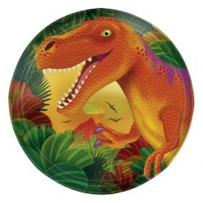Round Prehistoric Dinosaurs Lunch Plates 17cm Pack of 8