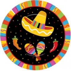 Round Mexican Fiesta Fiesta Fun Lunch Plates 17cm Pack of 8