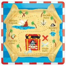 Square Pirate's Treasure Lunch Plates 17cm Pack of 8