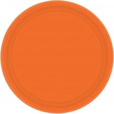 Round Orange Paper Dinner Plates 23cm Pack of 8